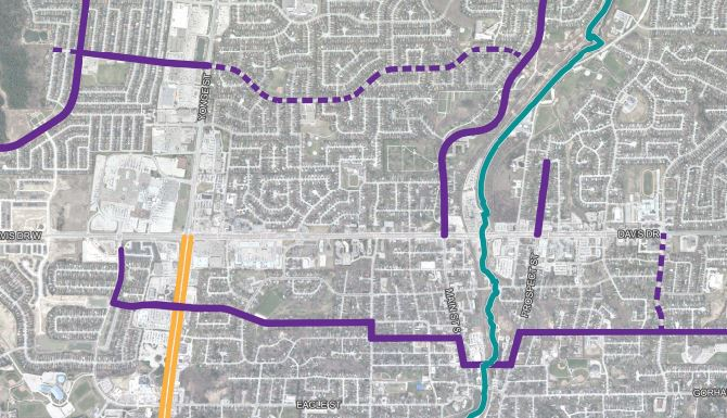 This map shows the planned bike lanes for 2020.
